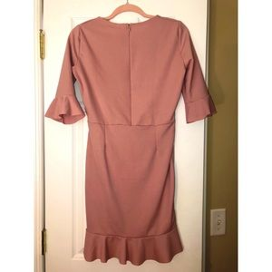 Boohoo Dresses - NWT Pink Boohoo Ruffle Hem Dress